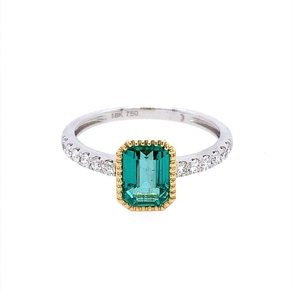 18K Gold Emerald & Diamond Ring Image 2 Franzetti Jewelers Austin, TX