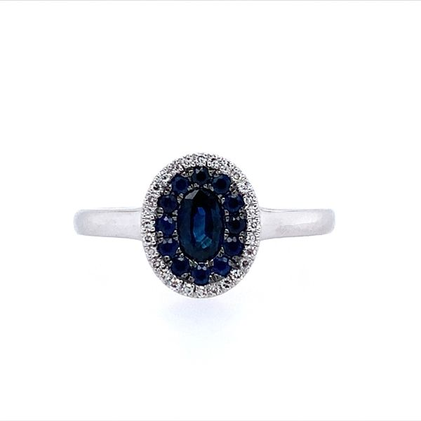 14KW Gold Blue Sapphire & Diamond Oval Cluster Ring Franzetti Jewelers Austin, TX
