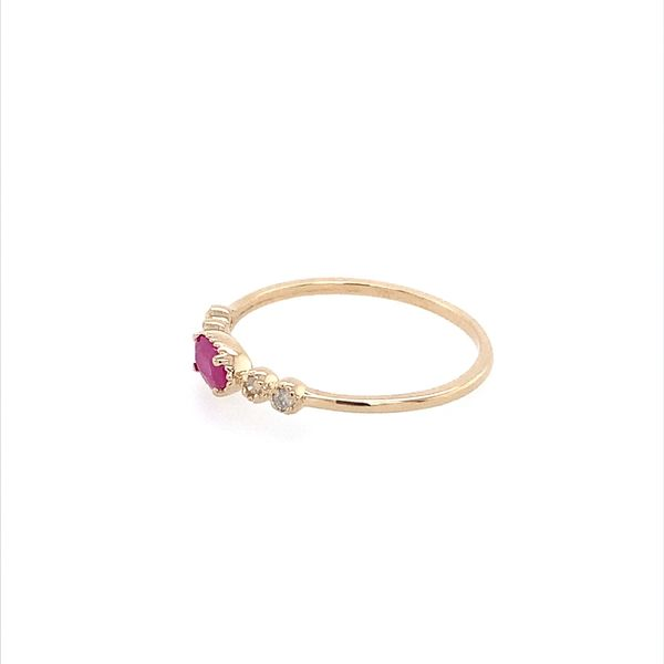 14K Yellow Gold Dainty Ruby & Diamond Ring Image 3 Franzetti Jewelers Austin, TX