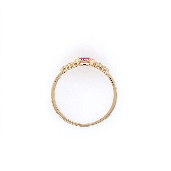 14K Yellow Gold Dainty Ruby & Diamond Ring Image 4 Franzetti Jewelers Austin, TX