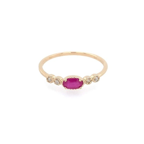 14K Yellow Gold Dainty Ruby & Diamond Ring Franzetti Jewelers Austin, TX