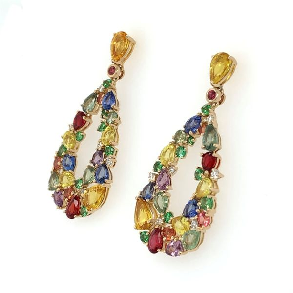Fancy Sapphire, Tsavorite & Diamond Pear Cluster Dangle Earrings Image 2 Franzetti Jewelers Austin, TX