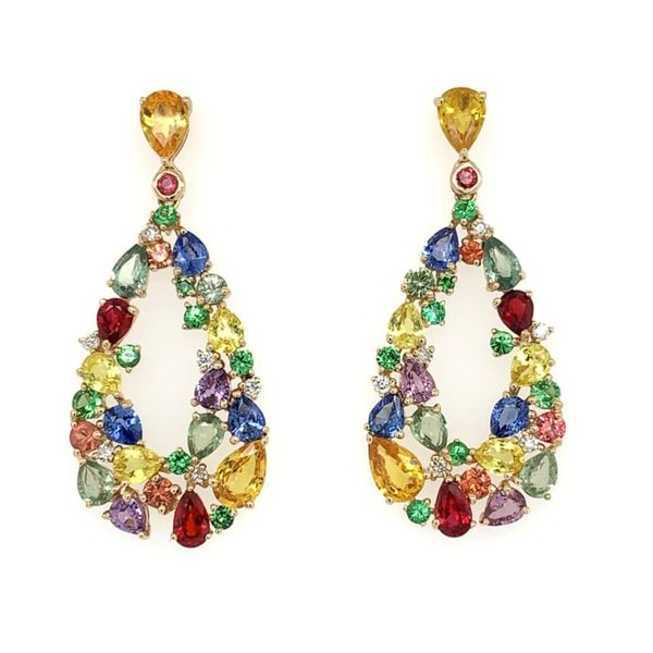 Fancy Sapphire, Tsavorite & Diamond Pear Cluster Dangle Earrings Franzetti Jewelers Austin, TX