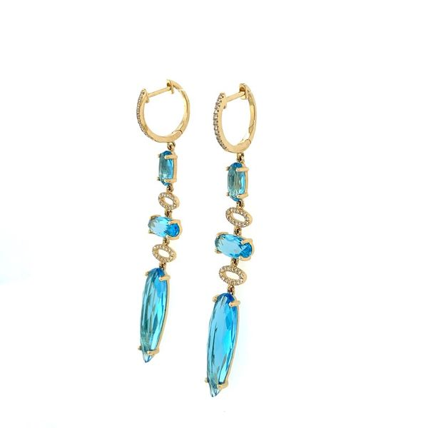 Blue Topaz and Diamond 3 Station Drop Earring Image 2 Franzetti Jewelers Austin, TX