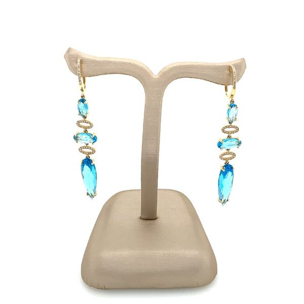 Blue Topaz and Diamond 3 Station Drop Earring Image 3 Franzetti Jewelers Austin, TX