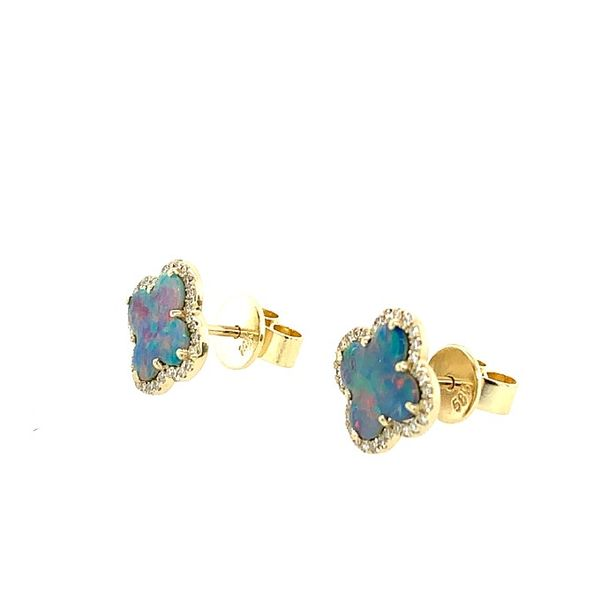 Black Opal Doublet and Diamond Clover Earrings Image 2 Franzetti Jewelers Austin, TX
