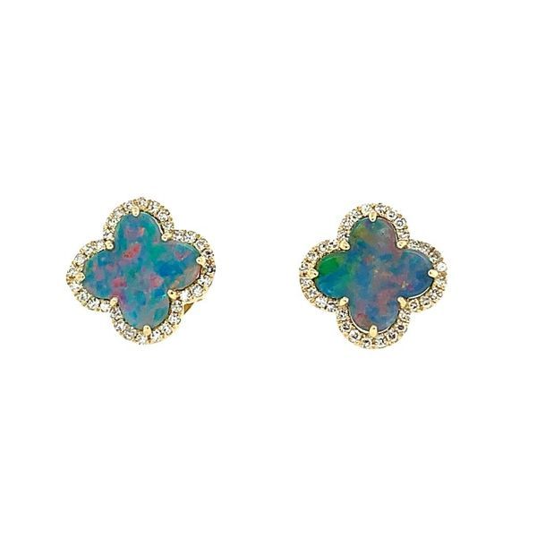 Black Opal Doublet and Diamond Clover Earrings Franzetti Jewelers Austin, TX