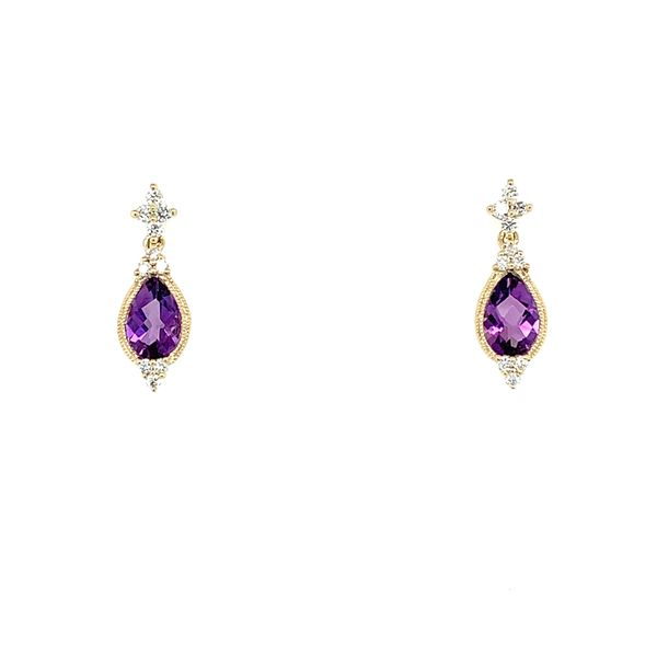 14K Yellow Gold Amethyst & Diamond Earrings Franzetti Jewelers Austin, TX