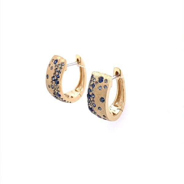 14KY Gold Blue Sapphire Huggie Earrings Image 2 Franzetti Jewelers Austin, TX