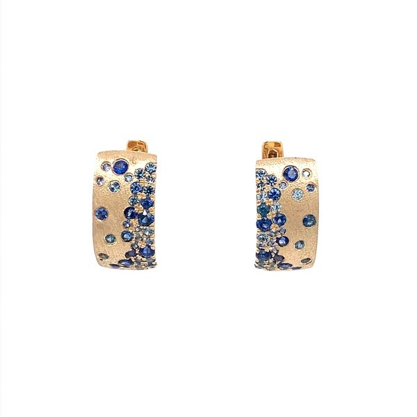 14KY Gold Blue Sapphire Huggie Earrings Franzetti Jewelers Austin, TX