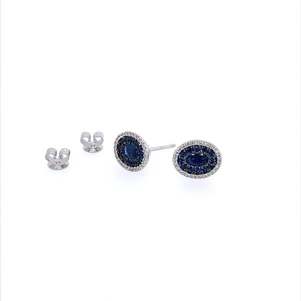 14K White Gold Blue Sapphire & Diamond Oval Cluster Earrings Image 2 Franzetti Jewelers Austin, TX