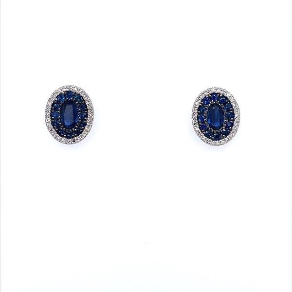 14K White Gold Blue Sapphire & Diamond Oval Cluster Earrings Franzetti Jewelers Austin, TX