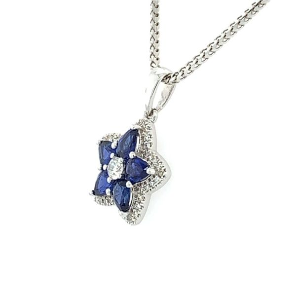 18K Sapphire & Diamond Star Pendant on 14K Franco Chain Image 2 Franzetti Jewelers Austin, TX