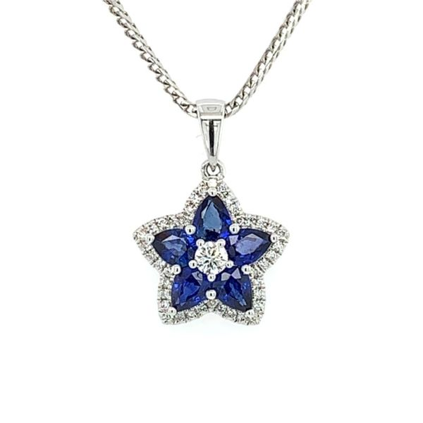 18K Sapphire & Diamond Star Pendant on 14K Franco Chain Franzetti Jewelers Austin, TX