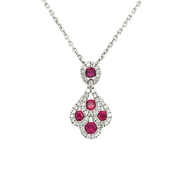 14K White Gold Ruby & Diamond Pendant Franzetti Jewelers Austin, TX