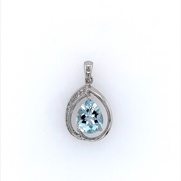 14K White Gold Aquamarine & Diamond Pendant Franzetti Jewelers Austin, TX