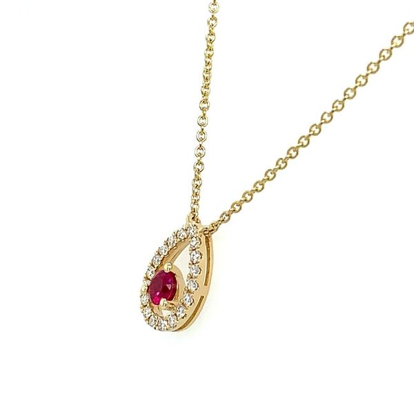 Yellow Gold Floating Ruby Necklace Image 2 Franzetti Jewelers Austin, TX