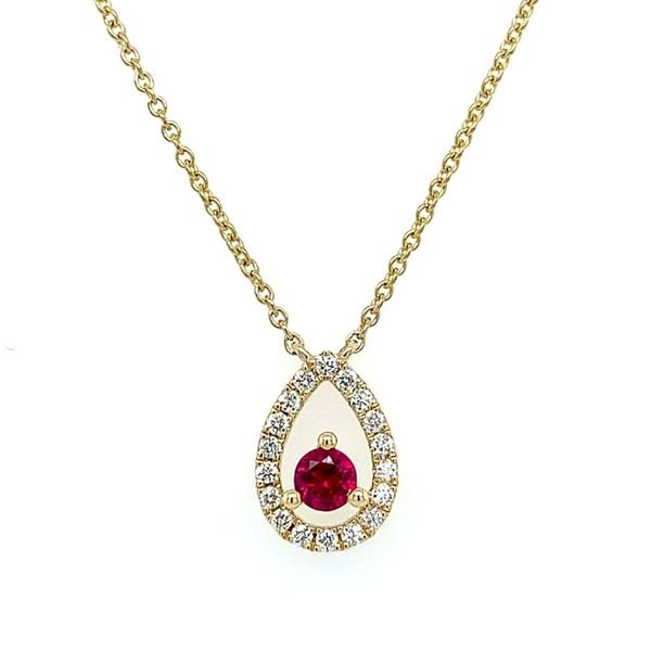 Yellow Gold Floating Ruby Necklace Franzetti Jewelers Austin, TX