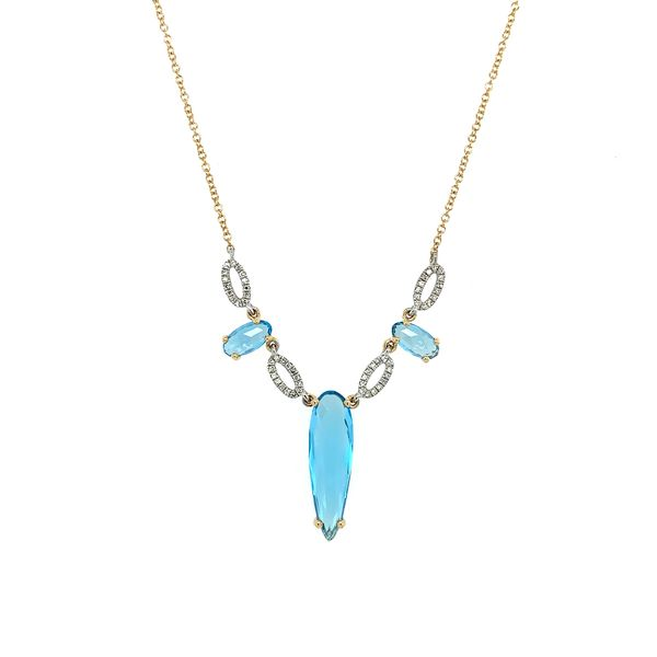 Swiss Blue Topaz and Diamond 3 Stone Pendant Necklace Image 2 Franzetti Jewelers Austin, TX