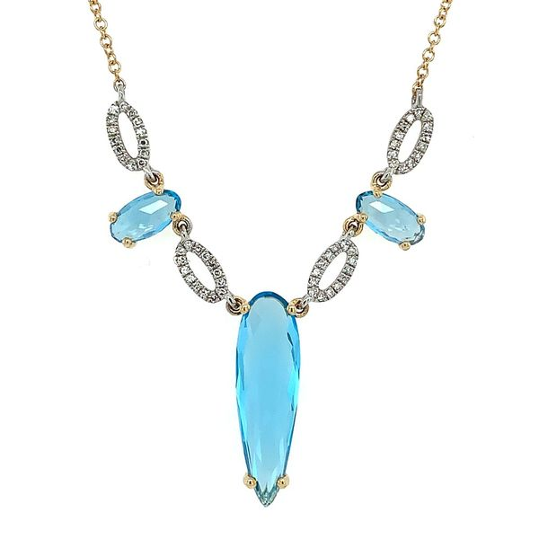 Swiss Blue Topaz and Diamond 3 Stone Pendant Necklace Franzetti Jewelers Austin, TX