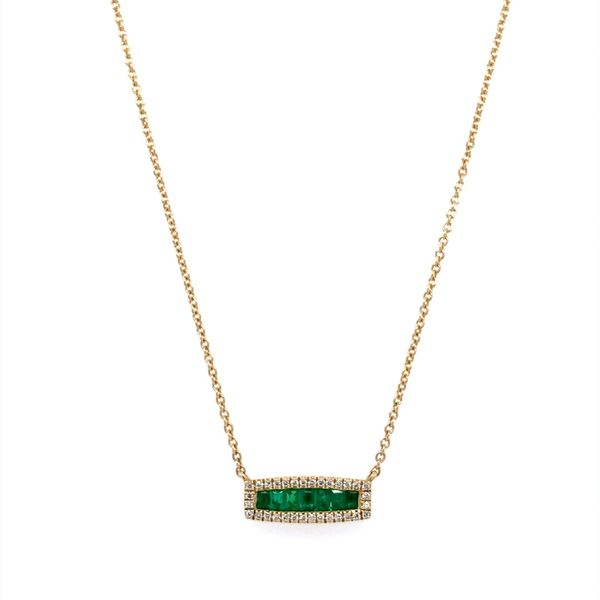 14K Yellow Gold Emerald & Diamond Necklace Image 2 Franzetti Jewelers Austin, TX