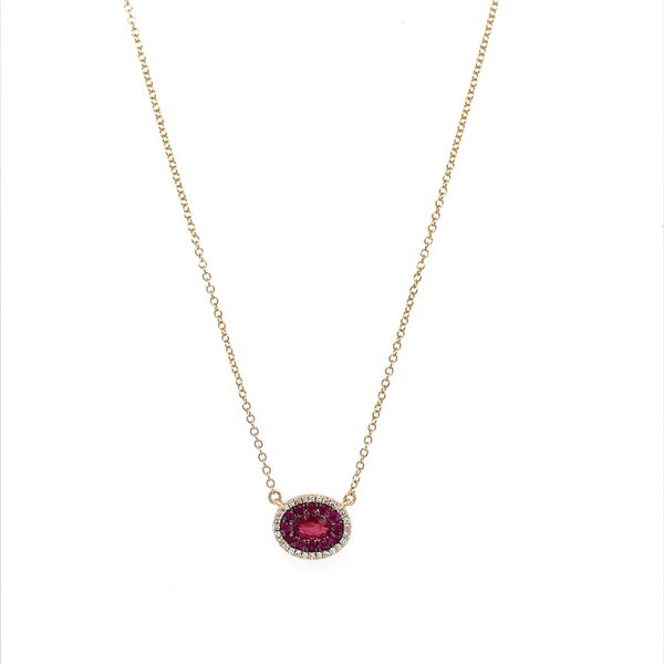 14KY Gold Ruby & Diamond Oval Cluster Pendant Necklace Image 2 Franzetti Jewelers Austin, TX