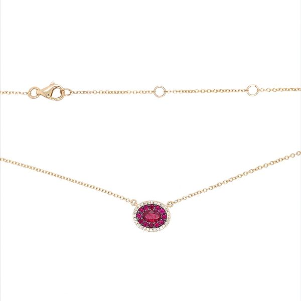 14KY Gold Ruby & Diamond Oval Cluster Pendant Necklace Image 3 Franzetti Jewelers Austin, TX