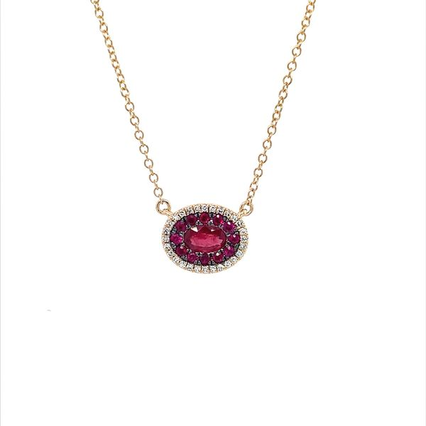 14KY Gold Ruby & Diamond Oval Cluster Pendant Necklace Franzetti Jewelers Austin, TX