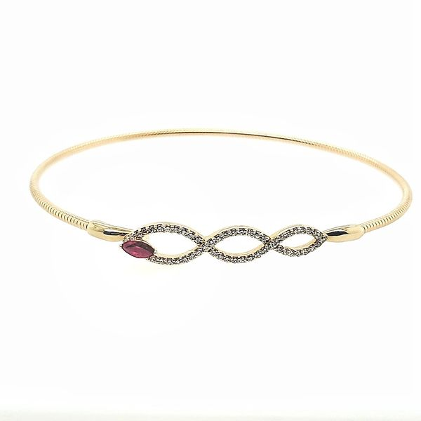 14KY Gold Ruby & Diamond Bangle Bracelet Franzetti Jewelers Austin, TX