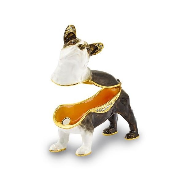 Bejeweled PIERRE French Bulldog Trinket Box Image 2 Franzetti Jewelers Austin, TX