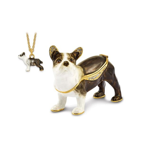 Bejeweled PIERRE French Bulldog Trinket Box Image 3 Franzetti Jewelers Austin, TX