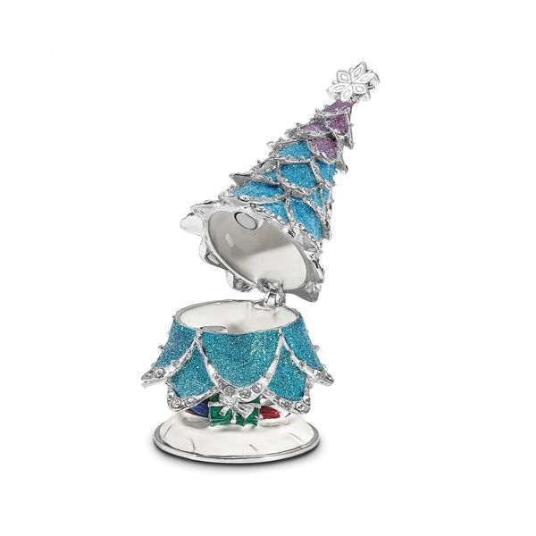 Bejeweled ARCTIC BLUE Christmas Tree Trinket Box Image 2 Franzetti Jewelers Austin, TX
