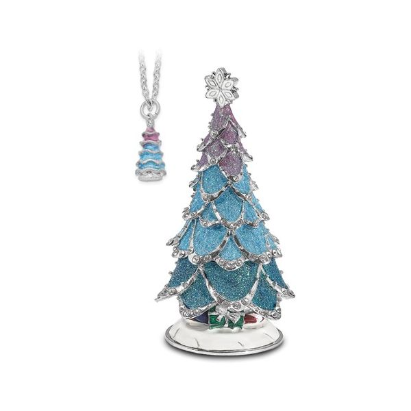 Bejeweled ARCTIC BLUE Christmas Tree Trinket Box Image 3 Franzetti Jewelers Austin, TX