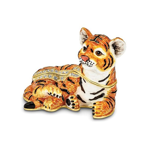 Bejeweled TONDA Young Tiger Trinket Box Franzetti Jewelers Austin, TX