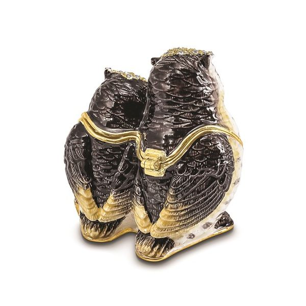 Bejeweled Mother and Baby Owl Trinket Box Image 3 Franzetti Jewelers Austin, TX
