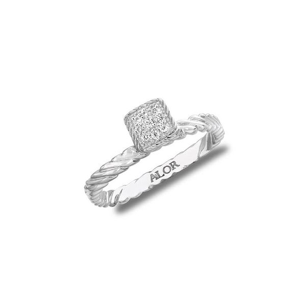 ALOR 18K White Gold Ring with 0.05Tw Round Diamonds George Press Jewelers Livingston, NJ
