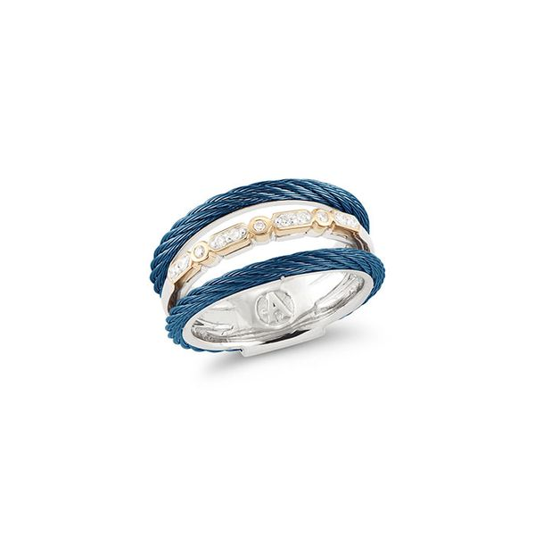 ALOR Layered Blueberry Cable Ring with 18kt Yellow Gold & Diamond George Press Jewelers Livingston, NJ