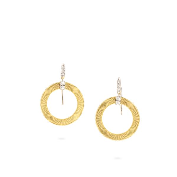 Marco Bicego® Masai Collection 18K Yellow Gold and Diamond Circle Drop Earrings George Press Jewelers Livingston, NJ
