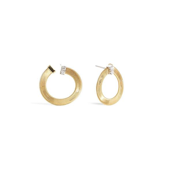 Marco Bicego® Masai Collection 18K Yellow Gold and Diamond Small Wrap Hoops George Press Jewelers Livingston, NJ
