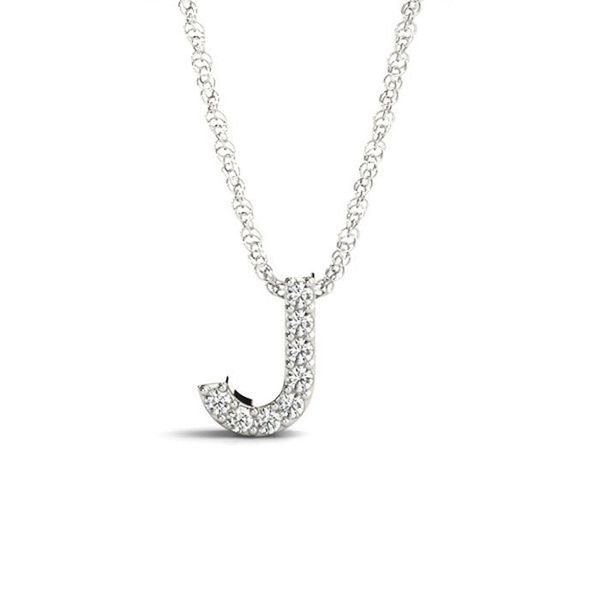 14K Diamond J Necklace George Press Jewelers Livingston, NJ