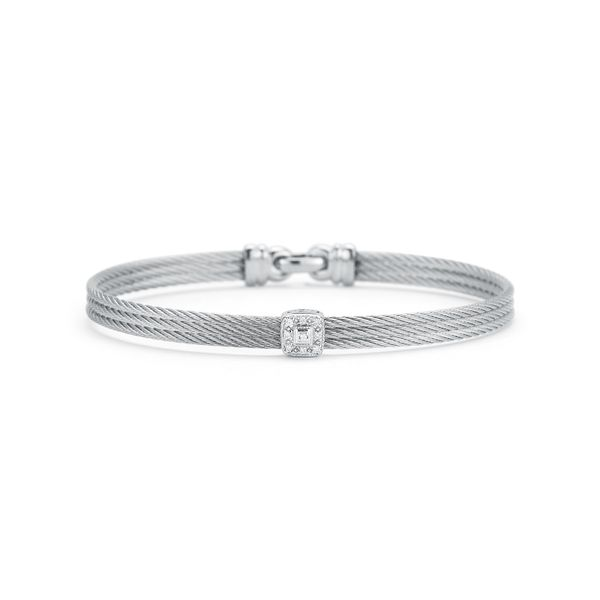 ALOR 18K Grey Cable Classic Stackable Bracelet with Single Square Station George Press Jewelers Livingston, NJ