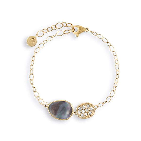 Marco Bicego® 18K Yellow Gold Black Mother of Pearl & Diamond Pave Chain Bracelet George Press Jewelers Livingston, NJ
