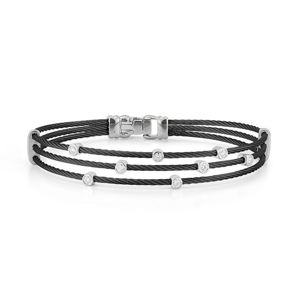 ALOR Black Cable Triple Strand Bracelet with 18kt White Gold & Diamonds George Press Jewelers Livingston, NJ