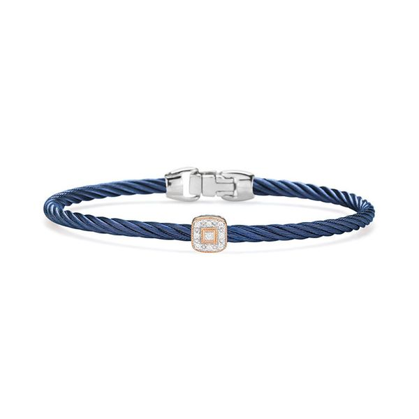 ALOR Blueberry Cable Essential Stackable Bracelet with Single Square Diamond station set in 18kt Rose Gold George Press Jewelers Livingston, NJ