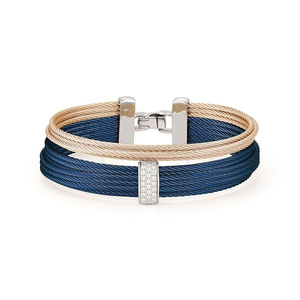ALOR Blueberry & Carnation Cable Large 2 Row Simple Stack Bracelet with 18kt White Gold & Diamonds George Press Jewelers Livingston, NJ