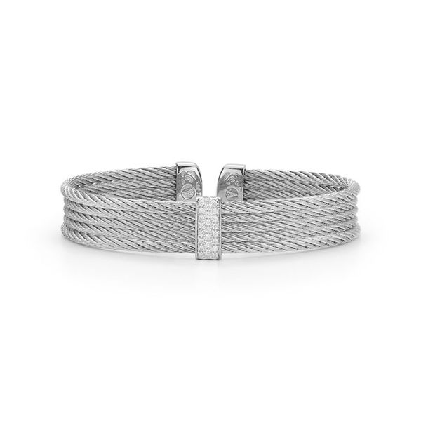 ALOR Grey Cable Mini Cuff with 18kt White Gold & Diamonds George Press Jewelers Livingston, NJ