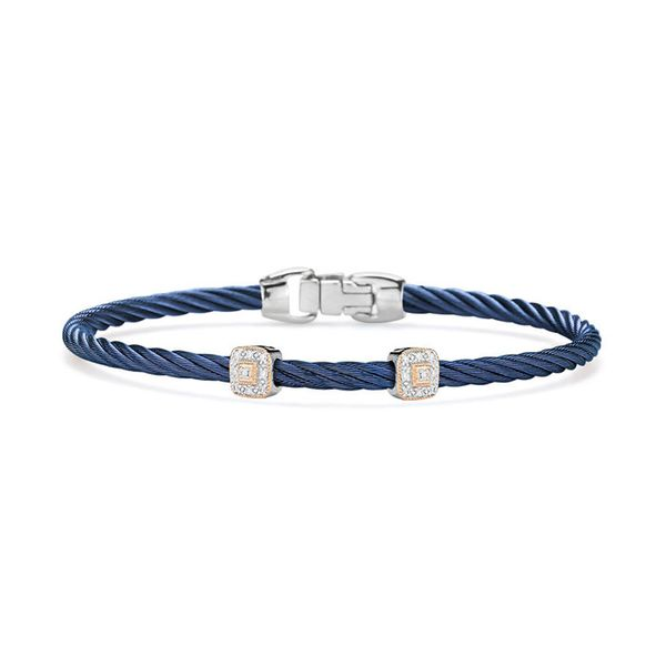 ALOR Blueberry Cable Essential Stackable Bracelet with Double Square Diamond station set in 18kt Rose Gold George Press Jewelers Livingston, NJ