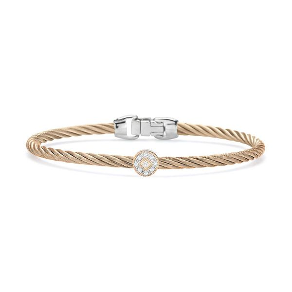 ALOR Carnation Cable Essential Stackable Bracelet with Single Round Diamond station set in 18kt Rose Gold George Press Jewelers Livingston, NJ