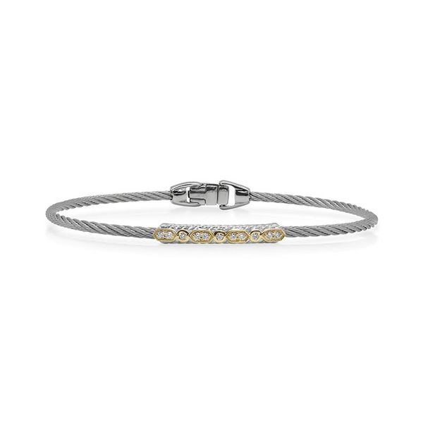 ALOR Grey Cable Delicate Twist Bracelet with 18kt Yellow Gold & Diamonds George Press Jewelers Livingston, NJ