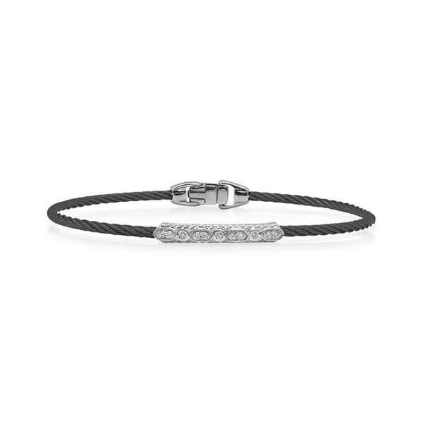 ALOR Black Cable Delicate Twist Bracelet with 18kt White Gold & Diamonds George Press Jewelers Livingston, NJ